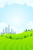 Green landscape with city Stock Photos
