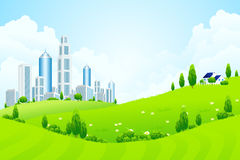 Green Landscape with City and Clouds Stock Photos