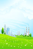 Green Landscape with City and Power Plant Stock Photos
