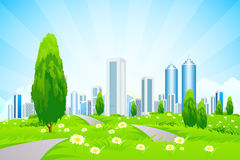 Green Landscape with City Royalty Free Stock Photo
