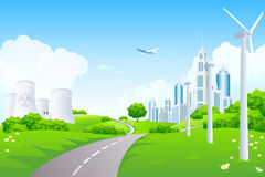 Green Landscape with City Windmills and Nuclear Power Plant stock illustration