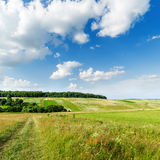 Green landscape and clouds over it Stock Photography