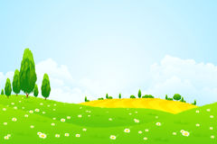 Green Landscape with  Flowers Stock Photography