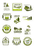 Green landscape and gardening company vector icons. Garden and green landscape design company icons set. Vector symbols of parks and squares, nature greenery Stock Photo