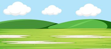 Green landscape with hills background. Illustration stock illustration