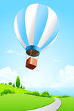 Green Landscape with Hot Air Balloon Royalty Free Stock Image
