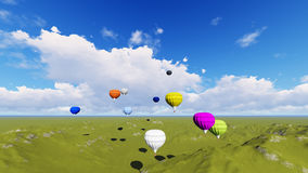Green landscape with Hot air balloon over the field  blue sky. Hot air balloon over the field with blue sky and green landscape Stock Photography