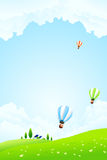 Green Landscape with Hot Air Balloons Stock Images