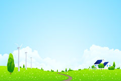 Green Landscape with house Royalty Free Stock Image