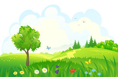 Green landscape. Illustration of beautiful green woods Royalty Free Stock Photography