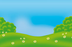 Green landscape illustration. Blue sky green trees and grass and flowers. Green landscape digital illustration background. For different arts vector illustration