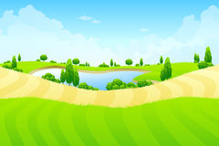 Green landscape with lake Stock Photos