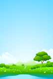 Green landscape with lake Royalty Free Stock Images