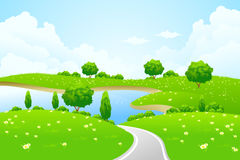Green Landscape with lake tree road and flowers royalty free stock images
