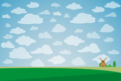 Green landscape with lonely windmill, trees and clouds vector illustration