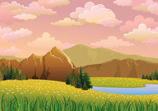 Green landscape with meadow, lake and mountains Stock Image