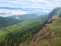 Landscape with mountain and beautiful clouds at Chaing mai, Thailand. Green landscape with mountain and beautiful clouds at Chaing mai, Thailand royalty free stock images