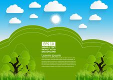 Green landscape, mountain with trees and clouds,Vector illustration. paper art style Stock Photography