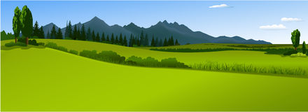 Green landscape with mountains Stock Images