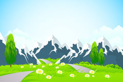 Green Landscape with Mountains Royalty Free Stock Image