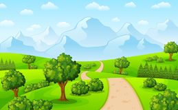 Green landscape with mountains and trees vector illustration
