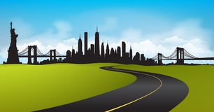 Green Landscape New York City Skyline Vector Stock Images