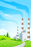 Green Landscape with Power Plant Royalty Free Stock Photo