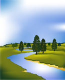 Green landscape with river. Vector illustration of green spring hills Royalty Free Stock Photography
