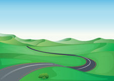 A green landscape and a road. Illustration of a green landscape and a road Royalty Free Stock Photos