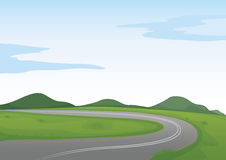 A green landscape and a road. Illustration of a green landscape and a road Stock Photo