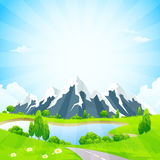 Green Landscape with Road and Mountains Royalty Free Stock Photo