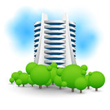 Green landscape with skyscraper. Royalty Free Stock Photos