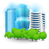 Green landscape with skyscraper. Stock Photo