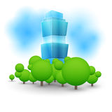 Green landscape with skyscraper Stock Photo