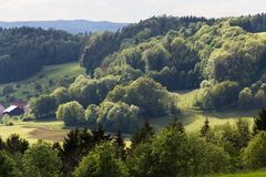 Green landscape at springtime at south germany countryside Stock Photo