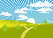 Green Landscape With Sunbeam. Vector illustration of a plain green land with the sun and sunbeam Royalty Free Stock Photos
