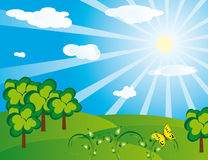 Green landscape on a sunny day. Vector illustration Royalty Free Stock Photography