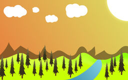 Green landscape of sunny. Vector illustration of green landscape of sunny morning Royalty Free Stock Photos