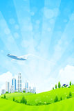 Green Landscape with City Royalty Free Stock Photos