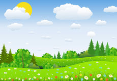 Green Landscape with trees clouds flowers Stock Images