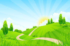Green Landscape with Trees and Road Stock Images