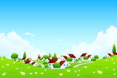 Green Landscape with Village. Landscape with Village. The Concept of Healthy Life Royalty Free Stock Image