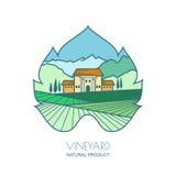 Green landscape with vineyard fields, villa, mountains in grapes leaf shape. Outline vector illustration of rural landscape.  Stock Photos