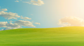 Green landscape during warm bright clear sky day Royalty Free Stock Photography