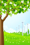 Green Landscape with Wind Power Plant Stock Image