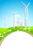 Green Landscape with Windmills and Nuclear Power Plant Stock Photos