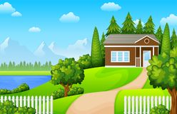 Free Green Landscape With House Near The Lake And Mountains Stock Image - 111541701