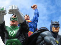 Green Lantern, Superman and Batman. Three fictional characters: Green Lantern, Superman and Batman superheroes - members of the justice league Royalty Free Stock Image