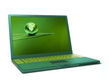 Green laptop Stock Photo