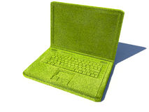 Green laptop. A green laptop computer with a shadow against a white background Stock Image